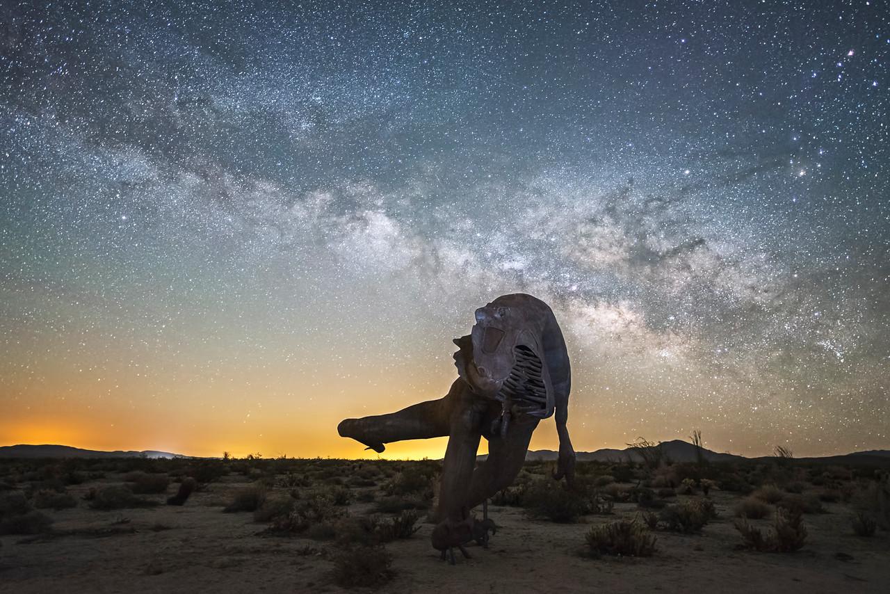 Anza Borrego sculptures and the Milky Way