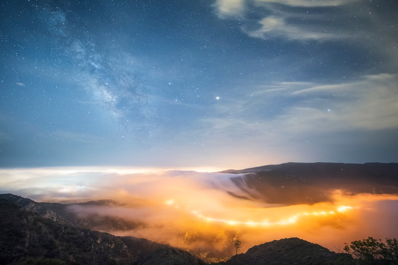 Malibu fog and Milky Way over Malibu Canyon Road