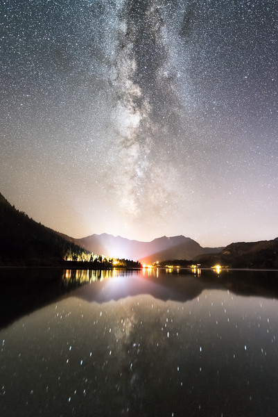 June Lake Milky Way reflections and light beam