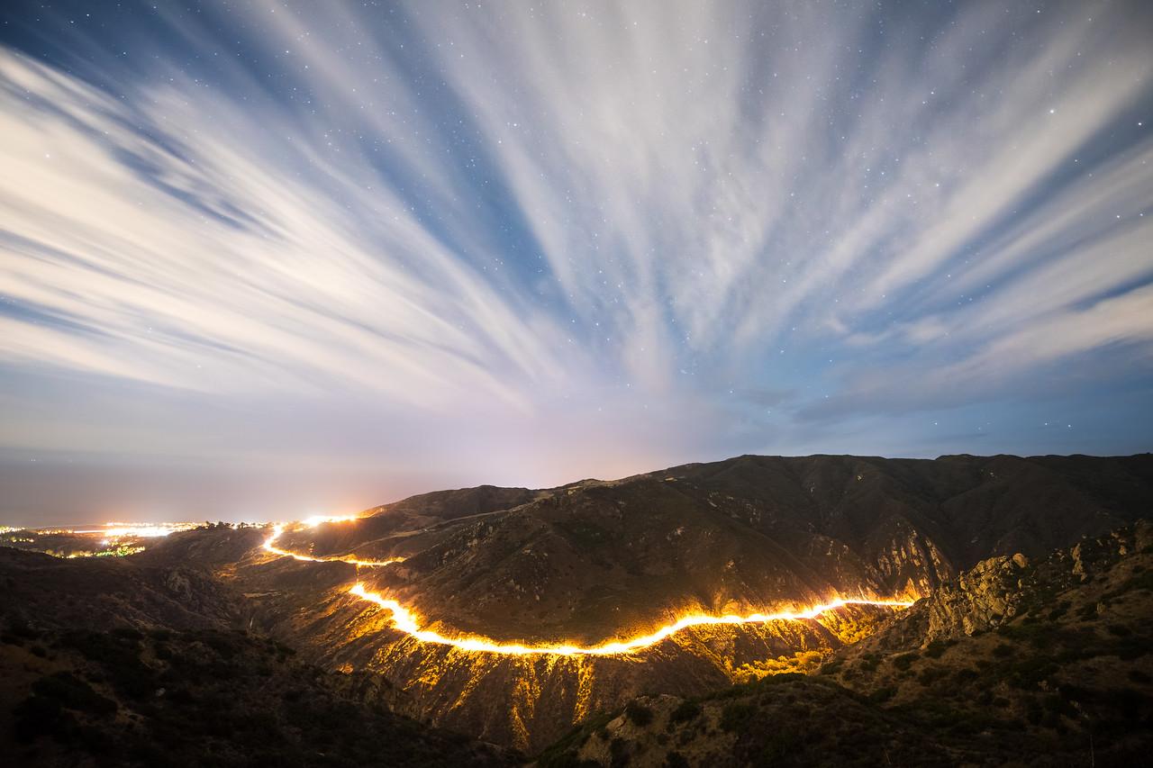 Clouds and Stars over Malibu Canyon Road
