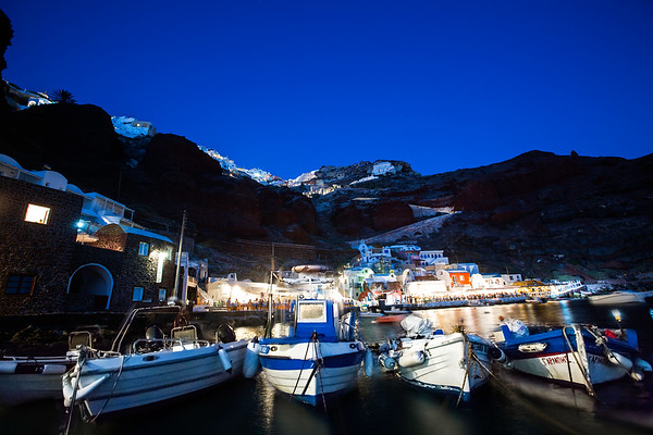 Amoudi Bay At Night - Oia, Santorini, Greece