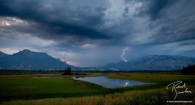 Lightning storm on the eastern edge of Jasper National Park.