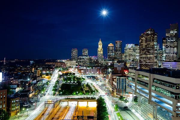 Boston Moonlit Skyline