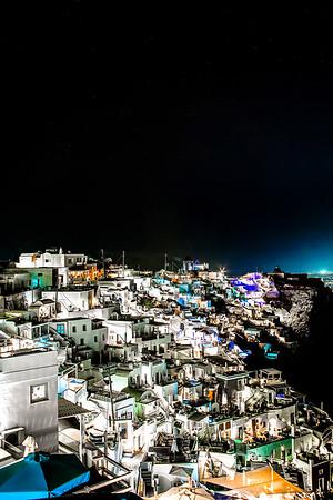 Nightfall On The Lights of Imerovigli, Santorini, Greece