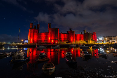 Caernarfon castle in Red