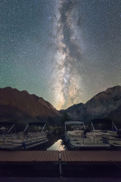 convict lake boat dock milky way