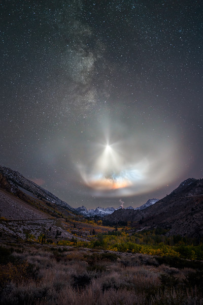 SpaceX Falcon 9 rocket launch and Milky Way, Aspendell CA