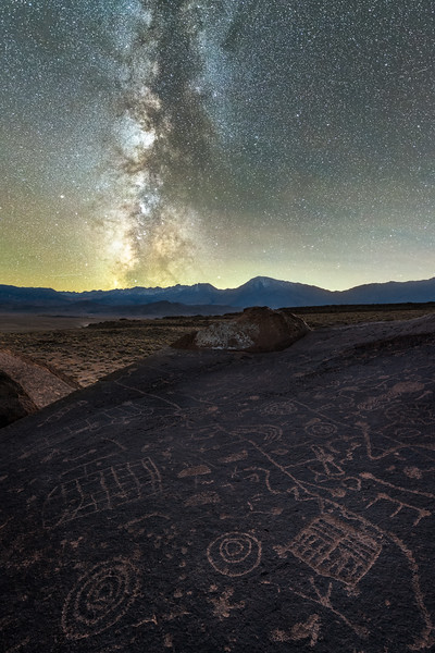Eastern Sierra Petroglyphs and the Milky Way