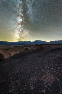 Eastern Sierra Petroglyphs and the Milky Way