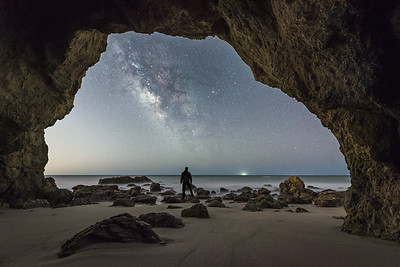 Malibu El Matador cave selfie under the Milky Way