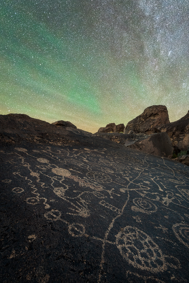 Petroglphs and airglow, Eastern Sierras