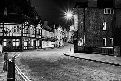 Lymm Town Night B&W