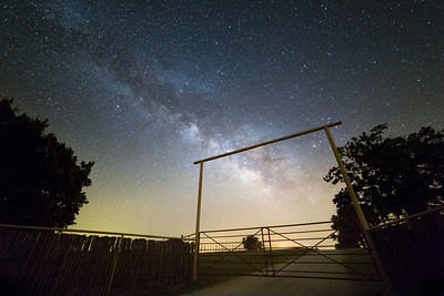 The Milky Way shines bright in the night sky over a ranch near Wanette, OK.
