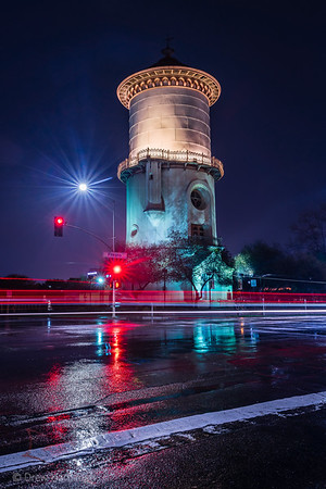Fresno Water Tower by Night