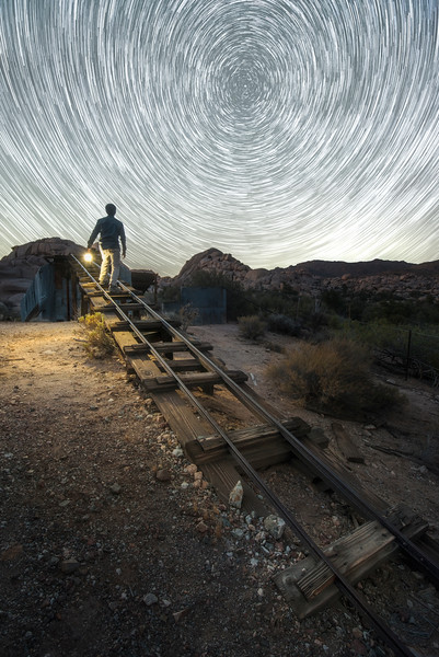 Mill Startrails in the desert