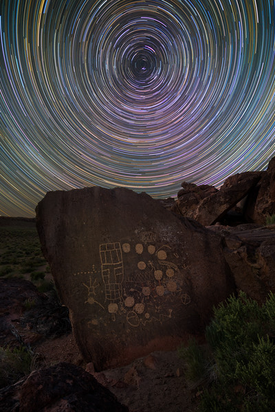 13 moons petroglypgh and startrails, Eastern Sierras