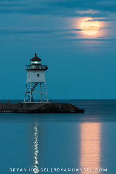 May Moonrise over the Grand Marais Lighthouse