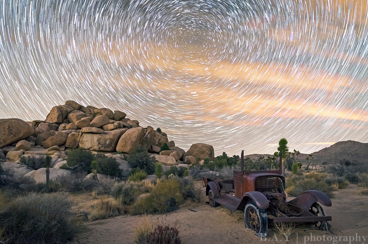 joshua tree barker mine car star trails