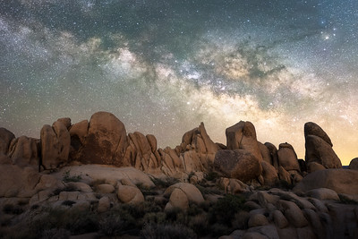 Joshua Tree National Park white tank rocks and milky way