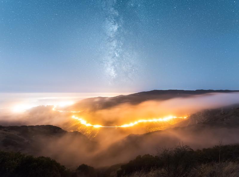 Piuma road, Malibu fog and Milky Way