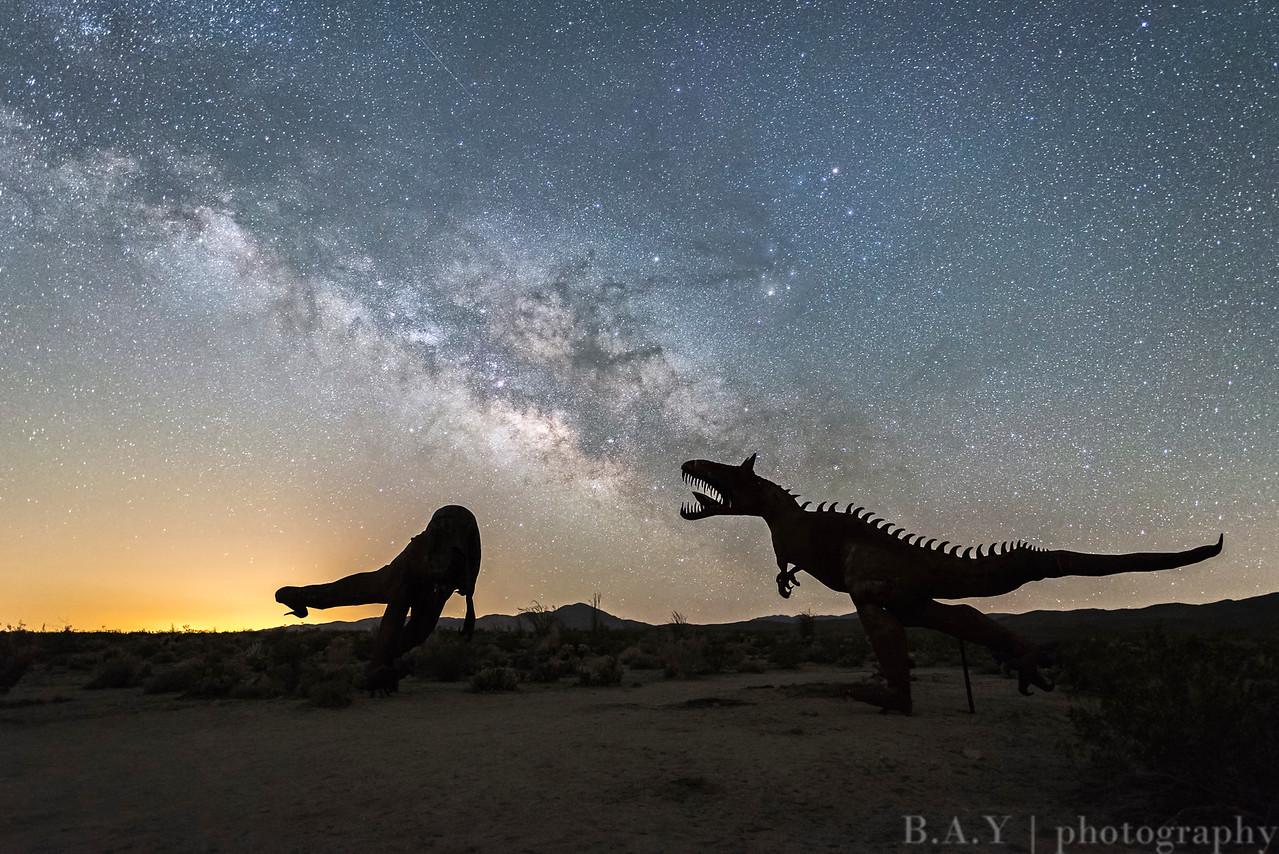 Ricardo Brecera metal sculptures and the Milky Way, Anza Borrego Desert state park