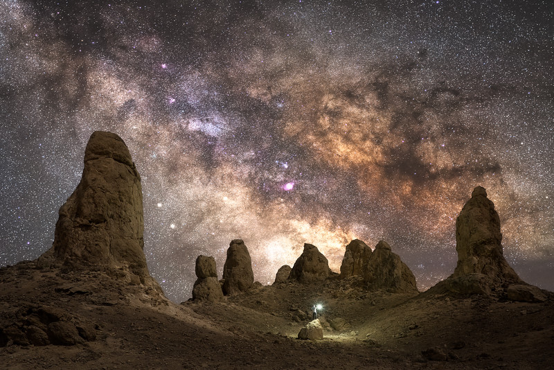 Trona pinnacles under the stars and Milky Way