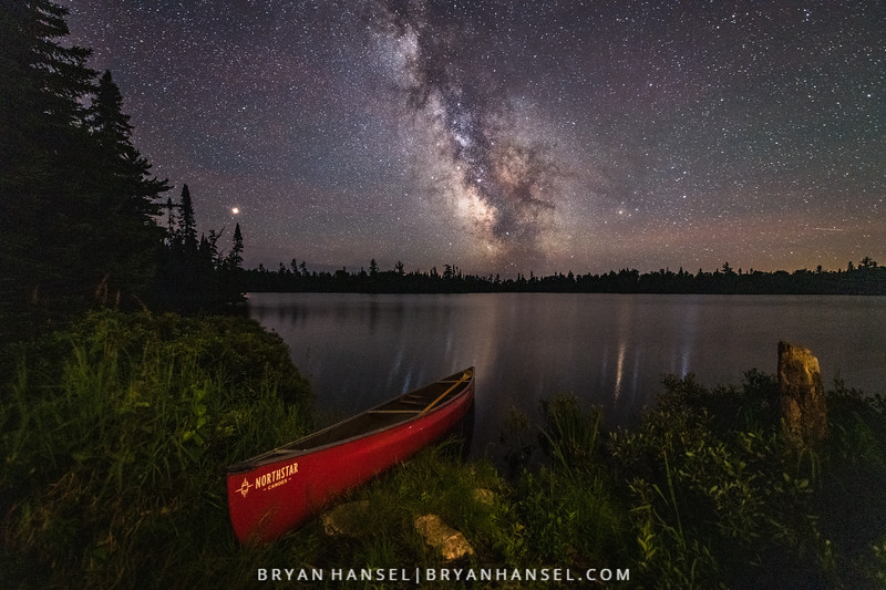 Northstar Canoe under the Milky Way and Mars