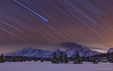 Midnight over the Grand Teton Mountains