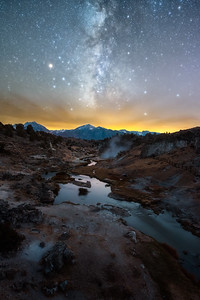 Hot creek Milky Way with clouds, Mammoth Lakes CA