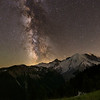 The Milky Way dominates the late summer sky above Mount Rainier, as seen from the Sunrise area to its northeast.