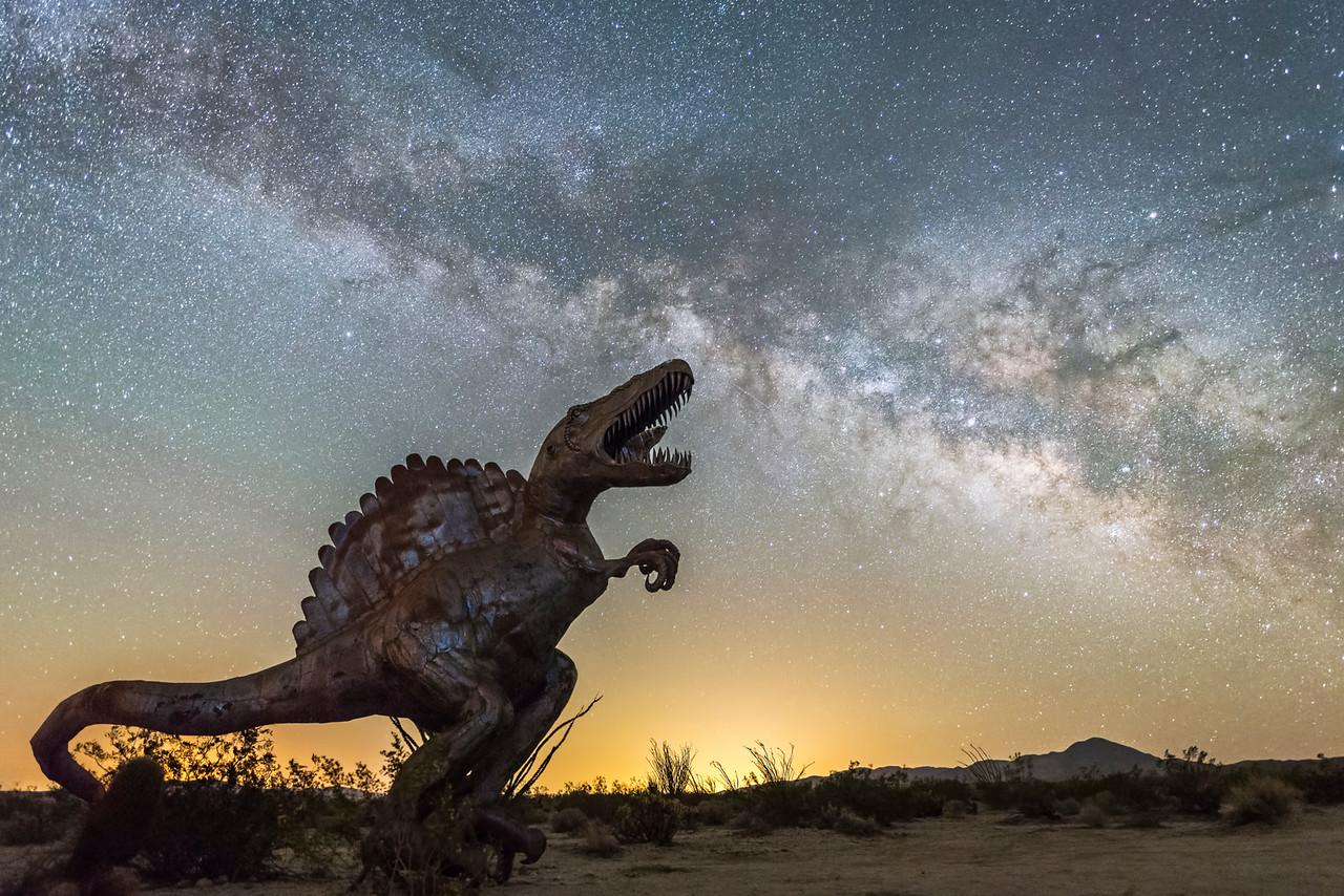 Anza Borrego sculpture and Milky Way
