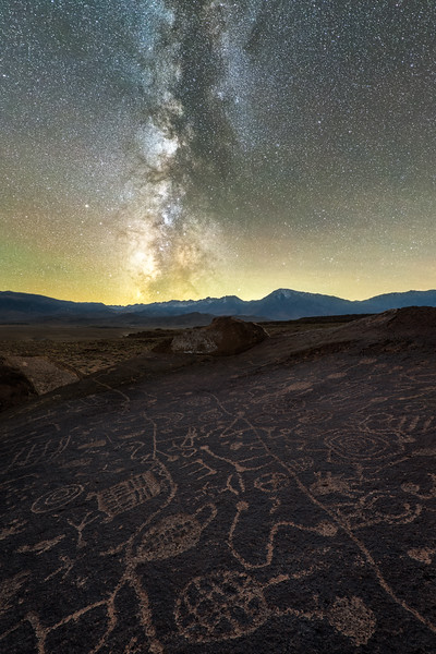Petroglyphs and Milky Way, Eastern Sierras