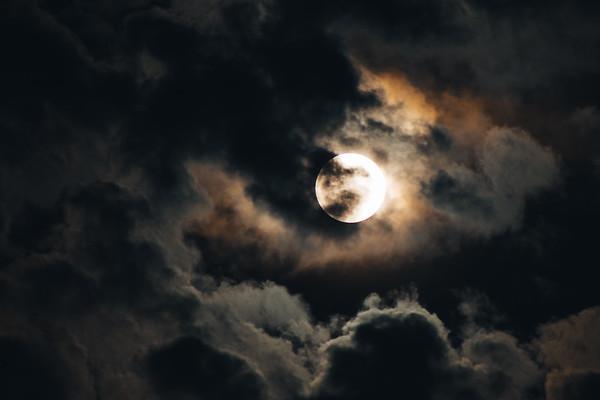 Eerie Nighttime Moon
