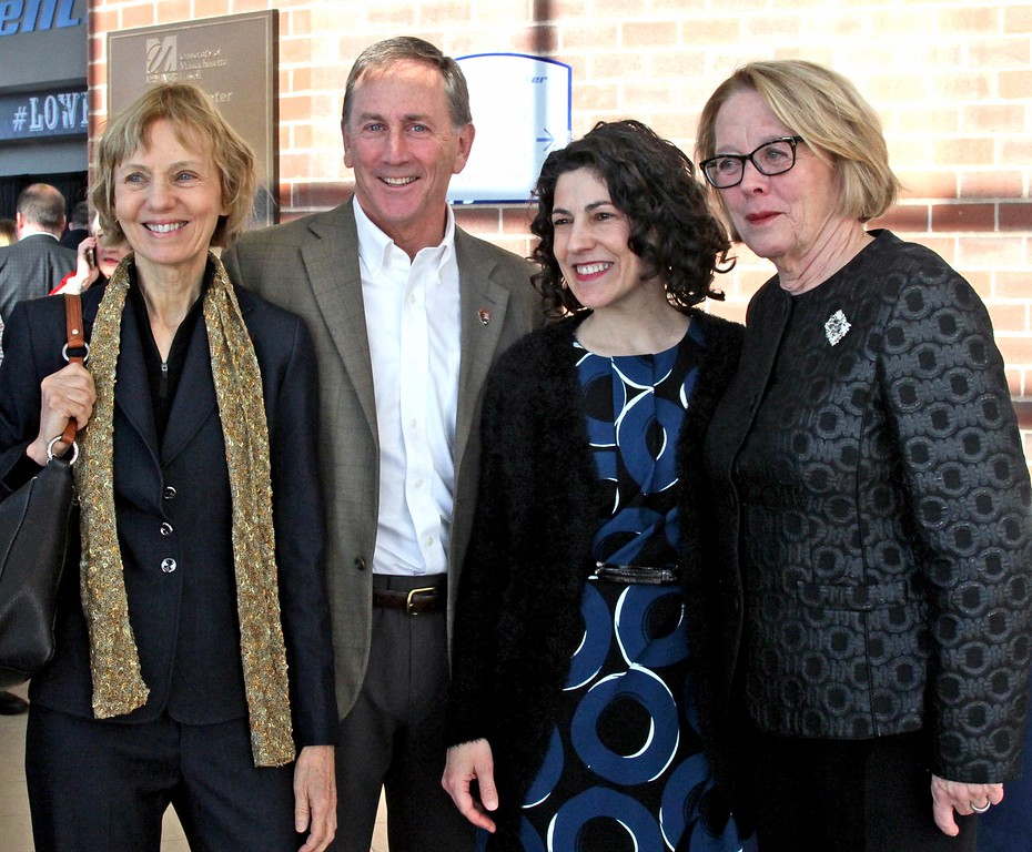 . Having a photo opp with Niki Tsongas is L-R, Joan Ross, Michael Creasey (former Lowell National Park Supt/now Supt for Boston National Parks), and Celeste Bernardo (Lowell National Park Supt). SUN/ David H. Brow