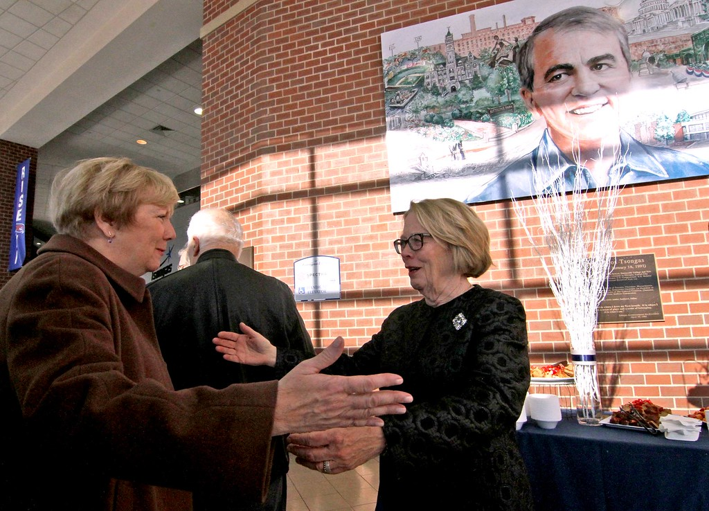 . Niki Tsongas, on right, does a meet & greet at the Tsongas Center, here greeting Eileen Donoghue at her farewell party. SUN/ David H. Brow