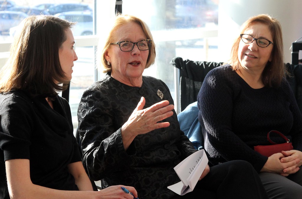 . Niki Tsongas talks with her chief of staff Katie Enos,on left, and her daughter Vicki, at her farewell party at the Tsongas Center. SUN/ David H. Brow