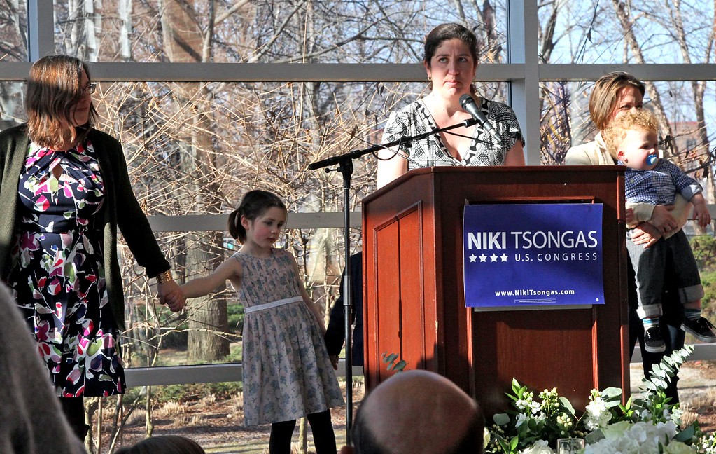 . One of Niki Tsongas\'s daughters Katrina speaking at her mother\'s farewell party. SUN/ David H. Brow