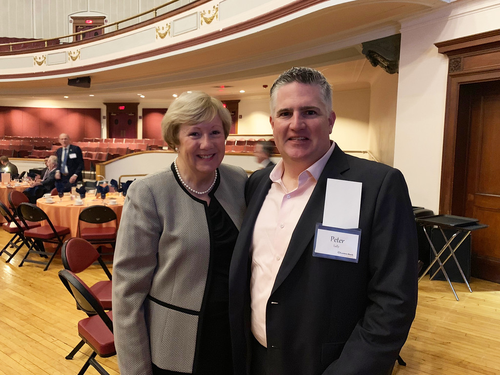 . Lowell City Manager Eileen Donoghue and Lowell Memorial Auditorium General Manager Pete Lally of Charlestown