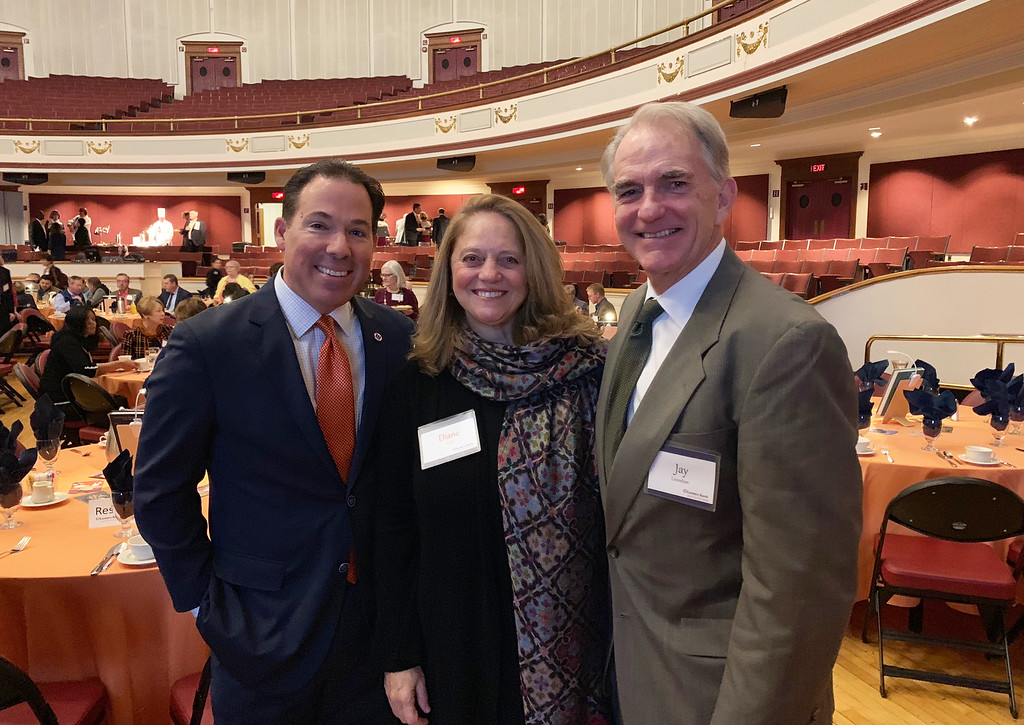 . From left, Eastern Bank CEO Bob Rivers of Needham, Diane Tradd of Merrimac and Greater Lowell Community Foundation President  and CEO Jay Linehan of Lowell