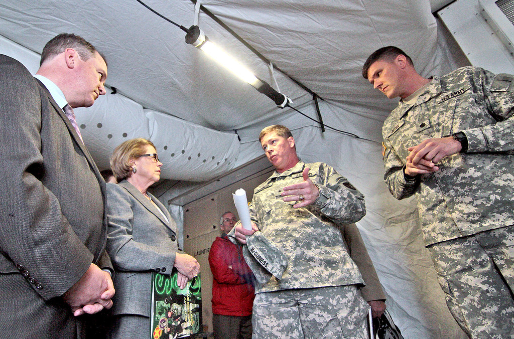 . Lt. Gov. Tim Murray, U.S. Rep. Tim Murray, Rep. Niki Tsongas along with Gen. John McGuiness, LTC James Tuten (Product Manager)  tour Natick Soldier Systems Center in 2012.  SUN/David H. Brow.