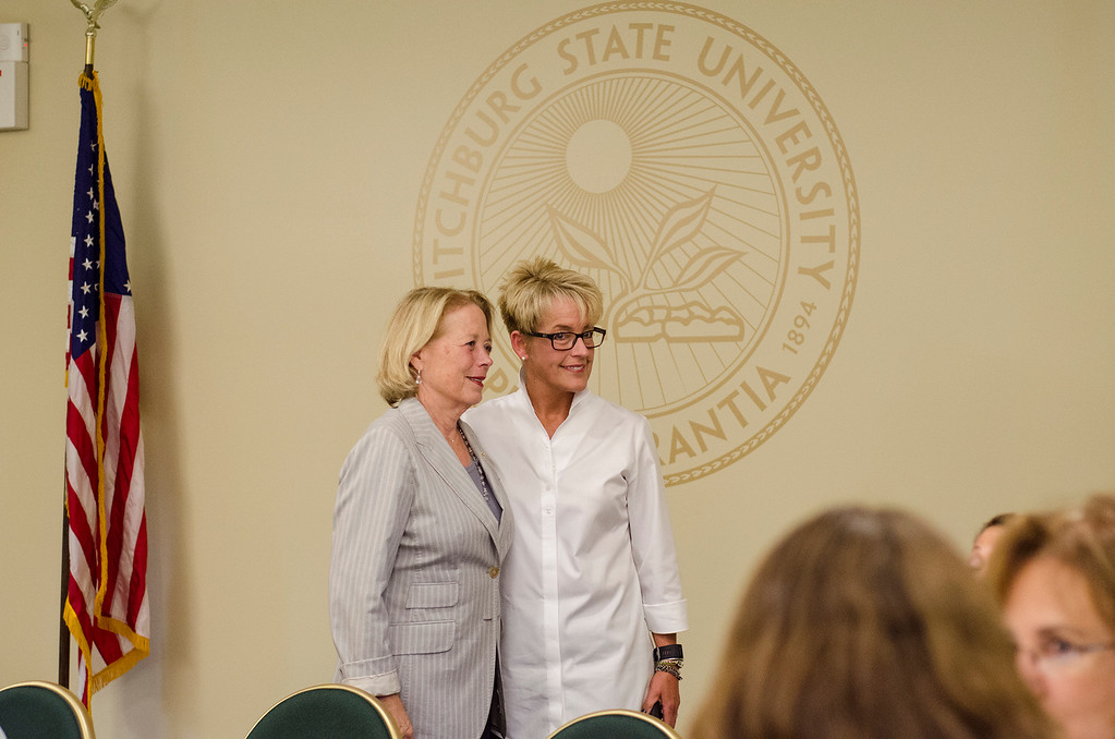 . Applewild School Headmaster Christie Stover speaks with Congresswoman Niki Tsongas during a roundtable discussion in honor of Womens Equality Day at Fitchburg State University on Friday afternoon, August 28, 2016. SENTINEL & ENTERPRISE / Ashley Green