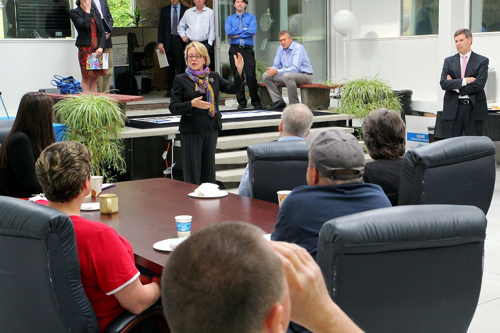 . U.S. Congresswoman Niki Tsongas talks to the employees of Headwall Photonics during her visit to their facility in Fitchburg on Wednesday, October 30, 2014.  SENTINEL & ENTERPRISE/JOHN LOVE