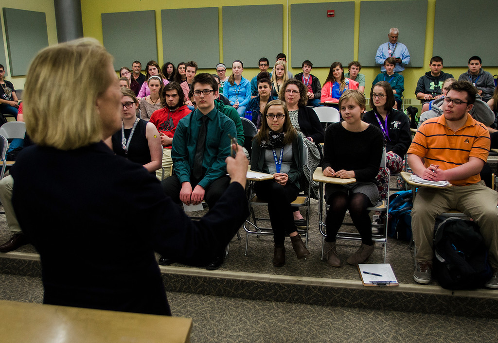. Congresswoman Niki Tsongas leads a discussion with the Political Discussion Club at Oakmont Regional High School on Wednesday, May 10, 2017. SENTINEL & ENTERPRISE / Ashley Green