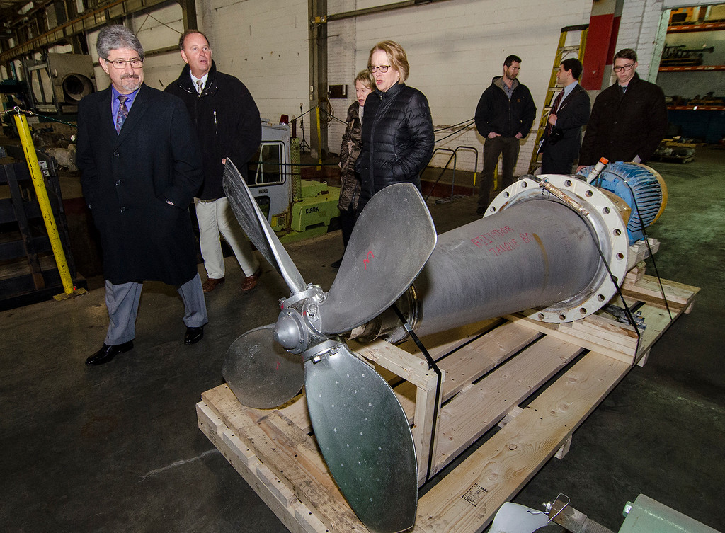 . Congresswoman Niki Tsongas and Mayor Stephen DiNatale joined President Daniel Nigrosh and the staff at Can-Am Machinery in Fitchburg on Wednesday afternoon, April 7, 2016, for a tour of the facility. SENTINEL & ENTERPRISE / Ashley Green