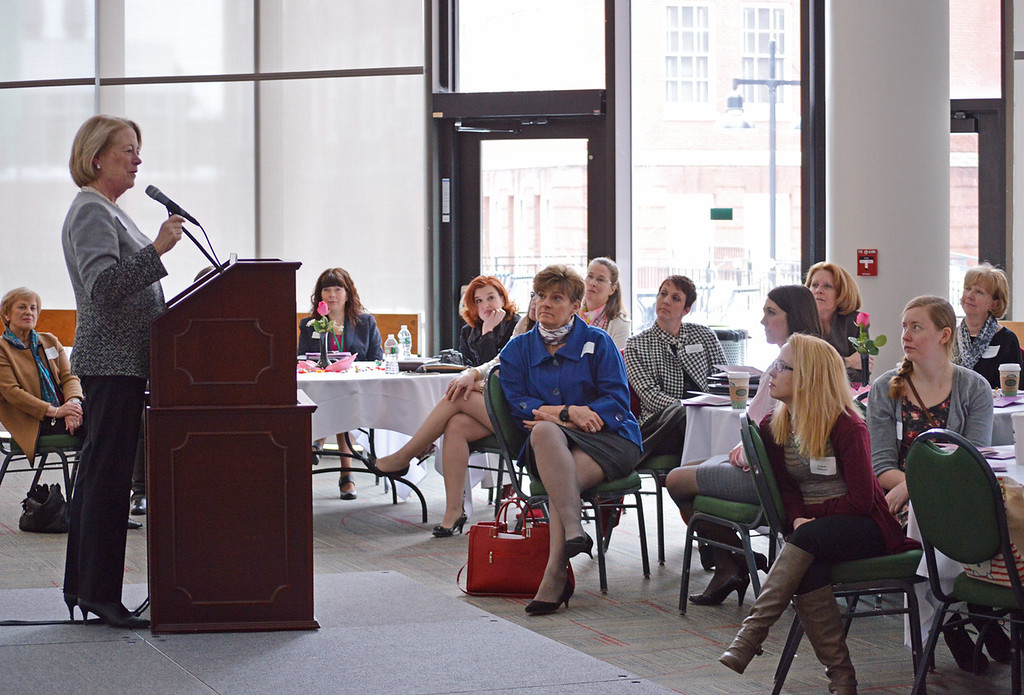. Congresswoman Niki Tsongas spoke to a large group of women at the LeadHERship Conference at Fitchburg State University on Friday, March 21, 2015. SENTINEL & ENTERPRISE/ ASHLEY LUCENTE