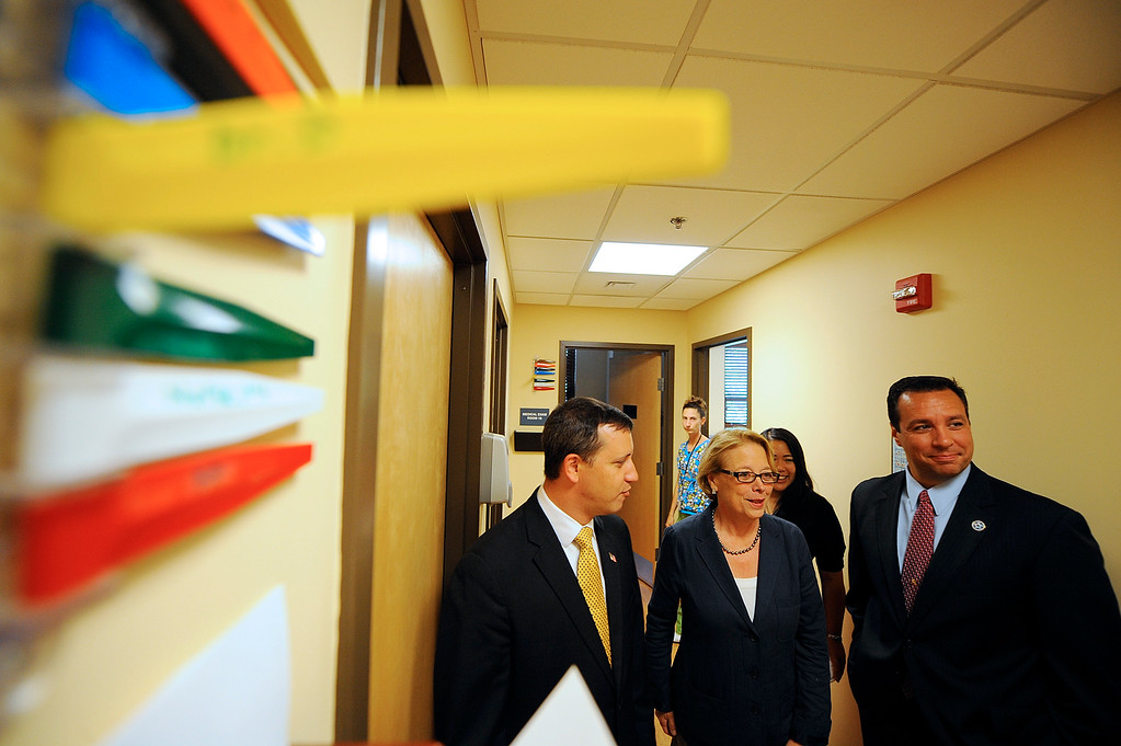 . U.S. Representative Niki Tsongas (center) tours Gardner Community Health Connections with State Rep. Rich Bastein (left), Fitchburg Mayor Lisa Wong, and Gardner Mayor Mark Hawke, Friday, August 10, 2012. SENTINEL & ENTERPRISE / BRETT CRAWFORD