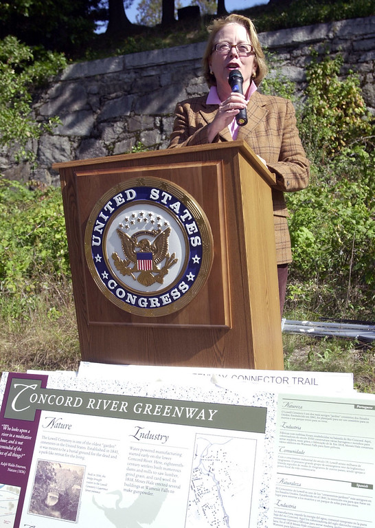 . Rep. Niki Tsongas speaks at the Concord River Greenway in Lowell in 2008. Photo by Bill Bridgeford