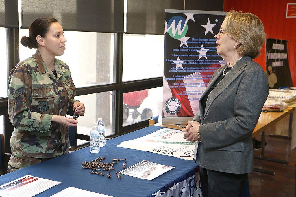 . Congresswoman Niki Tsongas talks with U.S. Air force Senior Airman Josefina Wolski during her visit to the Veteran Student Success Center at Mount Wachusett Community College on Tuesday morning, March 9, 2016. SENTINEL & ENTERPRISE/JOHN LOVE