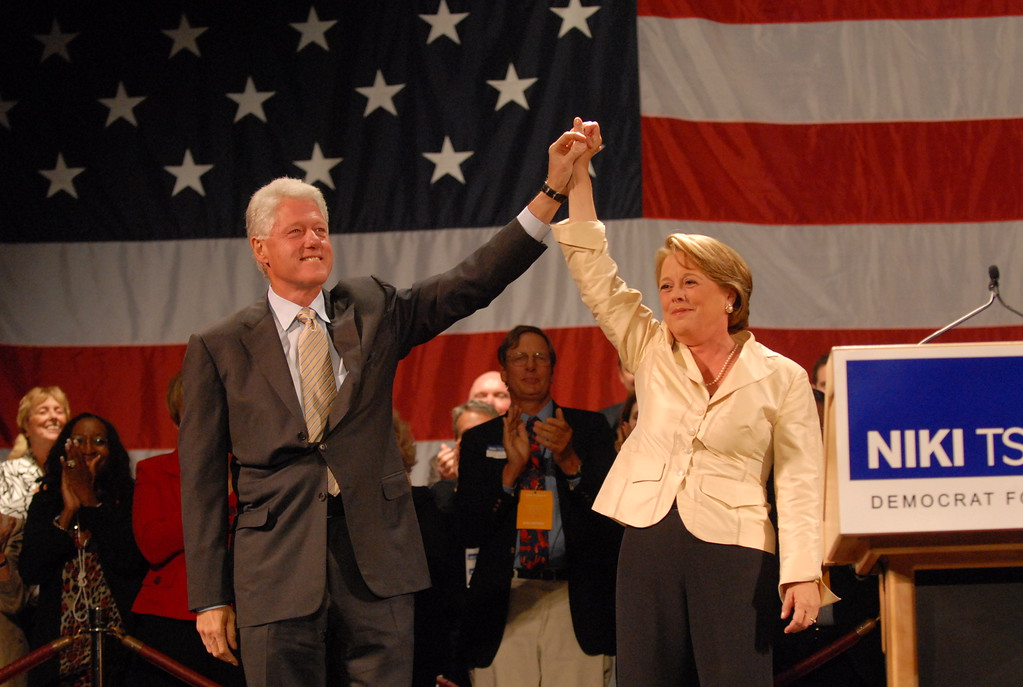 . Former President Bill Clinton speaks at fundraiser for Niki Tsongas at Lowell Memorial Auditorium in 2007. Tory Germann photo