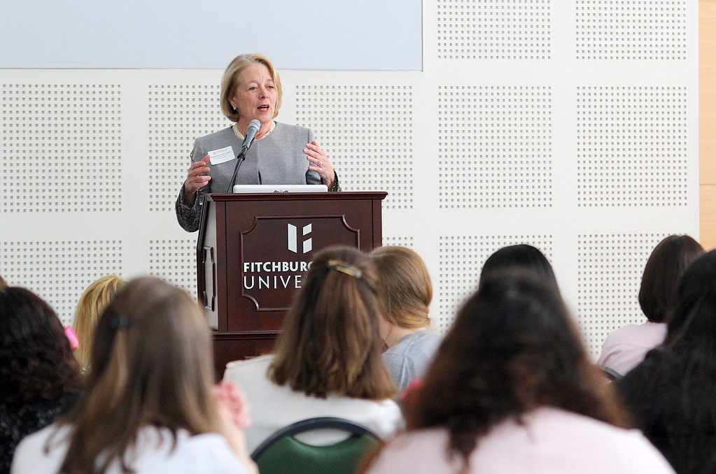 . Congresswoman Niki Tsongas speaks to a room of ladies for Fitchburg State University�s first LeaderHERship Conference held Friday afternoon at the school, March 21, 2015. SENTINEL & ENTERPRISE/JOHN LOVE
